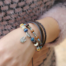 Women 925 Silver Plated Adjustable Cute Owl Brown Leather Braid Bracelet
