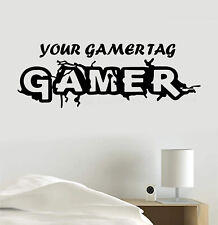 Personalized Gamer Tag Gaming Vinyl Decal Sticker Wall Art Mural, Room Decor