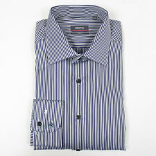 Eterna Navy/Silver Striped Two Ply Shirt. Size: 15/38 - RRP: £80 NEW WITH TAGS
