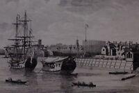 1750 Datato Stampa Vista Di Imbarcazioni Su Il Fiume Tamigi Woolwich Dockyard J