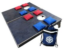 Portable Cornhole Set Camping size, all wood - Includes 8 bags (pick colors)
