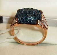 BLUE/WHITE DIAMOND RING  SIZE 10  ROSE GOLD OVER STERLING SILVER