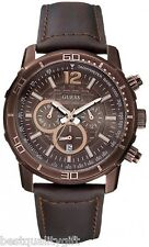 GUESS BROWN LEATHER+BRONZE,ROSE GOLD TONE CHRONOGRAPH+TACHYMETER WATCH U16002G1