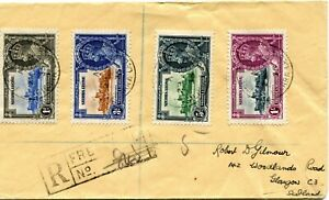 Sierra Leone 1935 Silver Jubilee set on registered Cover to Scotland