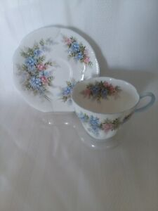 Royal Albert  Blossom Time  Wisteria  Cup & Saucer  Pink Blue Floral Spray