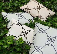 Sferra Solari Hand Beaded Pillow COVER Grey Linen Charcoal Scrolls 12x18 No-fill