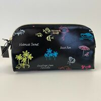 Victoria's Secret Neon Paradise Travel Case Zip Closure Cosmetic Bag  Black  NWT