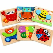 6 Pack Wooden Jigsaw Puzzles Animal Puzzles for Toddlers Kids Educational Toys
