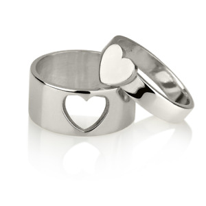 Matching Couple Heart Rings Style Ring - Sterling Silver Fashion Ring