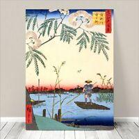 "Beautiful Japanese Horse Art ~ CANVAS PRINT 18x12"" ~ Hiroshige Fisherman Lake"