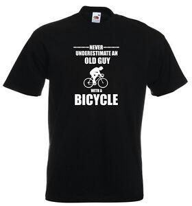 Never Underestimate old Guy Bicycle Cycling Mountain Bike Biking Road MTB TShirt