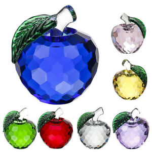 Colorful Crystal Apple Figurine Paperweight Perfect Office Teacher Gift 4cm