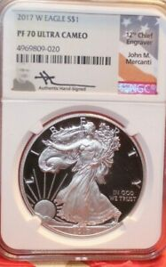 2017 W Proof Silver Eagle PF70 UC Mercanti Signed