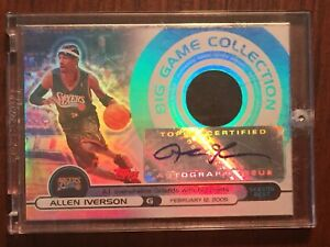 ALLEN IVERSON 2005 TOPPS BIG GAME COLLECTION JERSEY AUTO /129