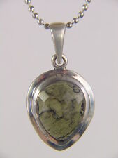 BUTW  Sterling Silver Faceted Czech Moldavite Meteorite Pendant 3087K