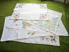 VINTAGE TRAY CLOTHS with HAND EMBROIDERY - Collection of 6