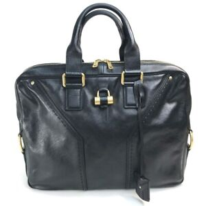 YVES SAINT LAURENT 158608 Muse Business bag Briefcase Leather Black x Gold