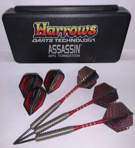 Vintage Harrows Darts 32g Tech Assassin 80% Tungsten Specialty Darts + Flights