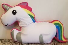 """Unicorn Pillow Justice 20"""" Rainbow With Silver Glitter Feet & Horn"""