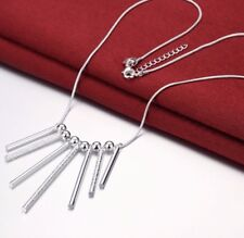 Women's Fashion Jewelry 925 Silver Plated Long Bar Pendant Necklace Chain 45-3