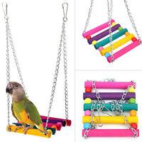 Pet Bird Wood Ladder Climb Parrot Macaw Cage Swing Shelf Parrot Bites Play Toy