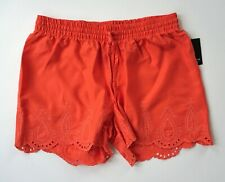 CROWN & IVY Paradise Orange Scalloped Embroidered Shorts Size Small New Nwt