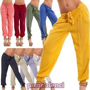 Pantaloni donna harem cavallo basso trasparenti sarouel leggeri nuovi CJ-1576