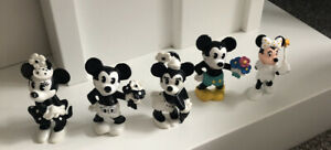 Disney Bullyland Mickey Mouse Minnie Mouse Figures Set Hand Painted Black/White