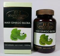 Body & Health Maxi Ginkgo Biloba 10000mg 100 Capsules - Gingko Biloba