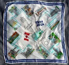 """EXPO 67 MONTREAL SILK SCARF 27"""" X 26 1/2"""" SIGHT SEEING SCARF EXPO 1967 MONTREAL"""