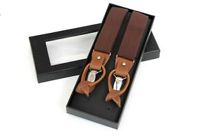 Brown Suspenders for Men, Leather Clip on/Button Suspenders for Groomsmen