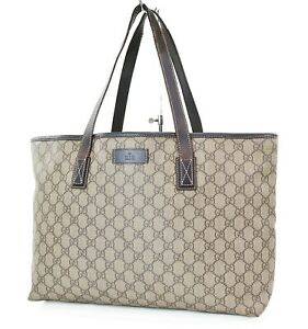 Authentic GUCCI Brown GG Canvas Leather Tote Shoulder Bag Purse #37517
