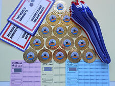 TEN PIN BOWLING MEDALS  50MM METAL + RIBBONS +CERTIFICATES SET OF 15