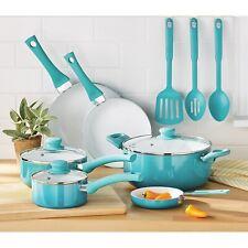 Mainstays Ceramic Nonstick 12 Piece Cookware Set, Teal Ombre