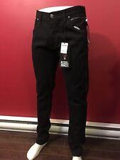 REBEL MINDS Men's Black 6-pocket Side Zipper Slim Jeans - Size 36W x 33L - NWT