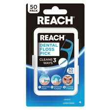 Reach Dental Floss Pick 50 Pack Clean 3 Ways Removes Food Plaque Cleans Tongue