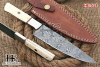 HUNTEX Custom Handmade Damascus Steel 28 cm Long Camel Bone Handle Hunting Knife