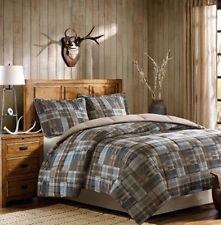 Woolrich Bedding Comforter Set Full Queen Blue Plaid 3 Piece Tan Lodge Western