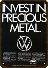 1974 VOLKSWAGEN BEETLE VW Car Vintage Look Metal Sign - INVEST IN PRECIOUS METAL