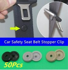 50X Update Universal Clip Seat Belt Stopper Buckle Button Fastener Safety Beige