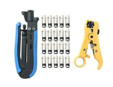 Compression Tool Coax Cable Crimping Kit with 20 F Compression Connectors