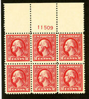 US Stamps # 528 XF OG NH Wide Top PB of 6 Scott Value $175.00