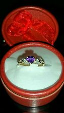 NEW.. A 9ct Amethyst and Diamond Heart shaped Ring. Size N