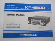 Pioneer KP-6500 Cassette Car Stereo with AM/FM Stereo Owners Manual