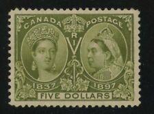 Canada 1897 QV Jubilee $5.00 olive green #65 XF mvlh - Cert