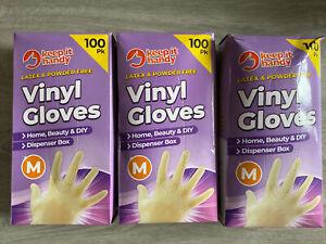 3 Packs Of Vinyl Disposable Gloves 300 Gloves Medical Hairdresser Latex Free