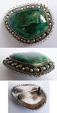 Pendentif broche en argent massif + malachite chrisocolle + perles Bijou ancien