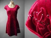 Elegant Velvet Dark Red Prom Dance Holiday Party Skater 121 mv Dress 1XL 2XL 3XL
