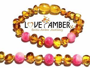 Girls Pink Polished Honey Baltic Love Amber Childs Anklet Honeysuckle No Teeth