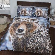 gros ours marron sauvage simple housse de couette et taie d'oreiller Set